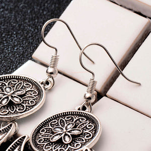 Dream Catcher Vintage Leaf Feather Dangle Earrings For Women