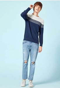 Men Round Neck Striped Color Knitted Sweater