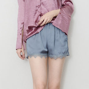Silky Elastic Waist Women Men Short Pants Pajama Nightwear Shorts