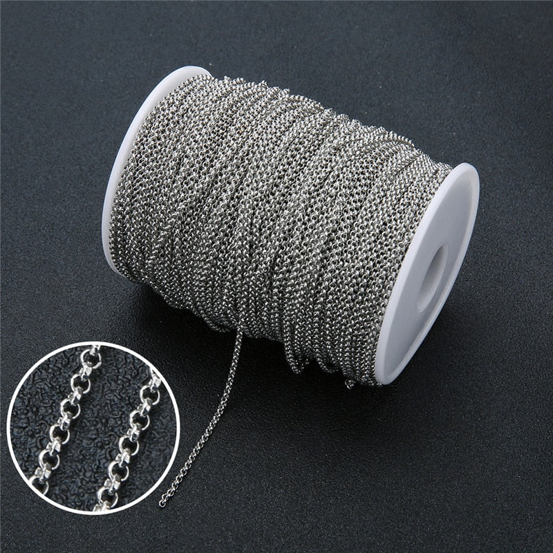 5m/lot Stainless Steel Rolo Link Chain Necklace Findings 2mm 2.5mm Metal Necklace Chains Bulk For Jewelry Making Accessories