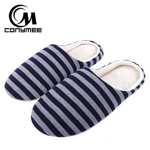 Men Casual Shoes Home Indoor Slippers Striped Soft Warm Winter Cotton Slippers Shoes