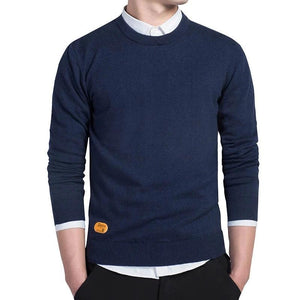Mens Cotton Sweater Pullovers Men O-neck