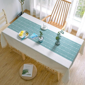 Creative Decorative Linen Tablecloth With Tassel Waterproof