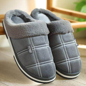 Winter warm Indoor shoes for male Non slip Cozy Velvet Waterproof