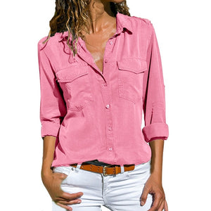Turn Down Collar double Pockets Button Blouse Shirt for Women