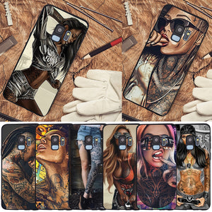 Sexy Tattoo Girl case For Samsung Galaxy S6 S7 Edge S8 S9 S10 Plus Lite Note 8 9 10 A30 A40 A50 A60 A70 M10 M20