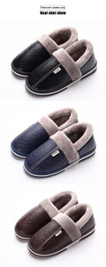 Men's Winter slippers Non slip Indoor leather Warm Memory Foam