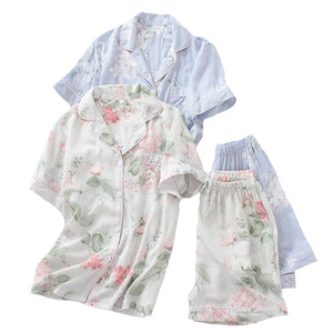 Women Simple Style Sleepwear  Floral Printed Turn-down Collar Top