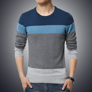 Casual Men's Sweater O-Neck Striped Slim Fit Knittwear