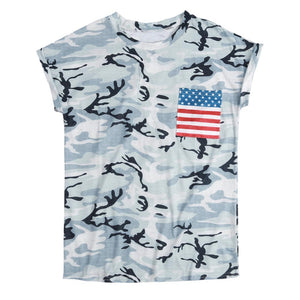 Women Printed t shirt Summer Short Sleeve American Flag Pocket