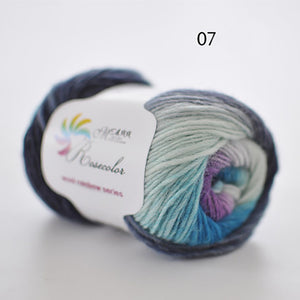 50g/ball Worsted Section-dyed Rainbow Yarn 100% Pure Wool
