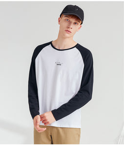 Men Casual Cotton Round Neck Long Sleeve Baseball Tshirt