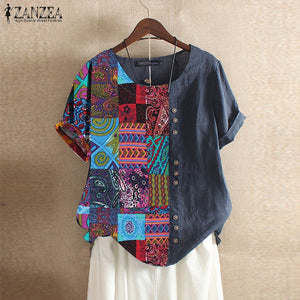 Women's Patchwork Blouse Casual Printed Tops