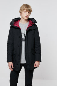 JackJones Men's Winter Hooded Parka Coat Long Jacket