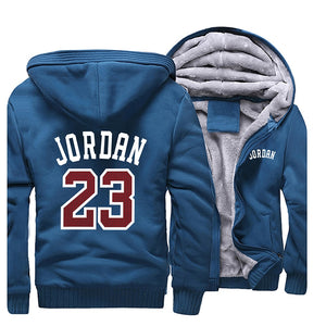 Men Jordan 23 Printed Hoodies Warm Zipper Coats