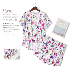 Cute cartoon short pajamas sets for women