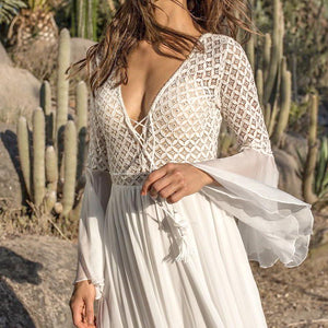 Long Flare Sleeve V Neck White Party Hollow  Lace Maxi Dress