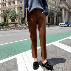Women Elastic Woolen Winter Ankle-Length Pants