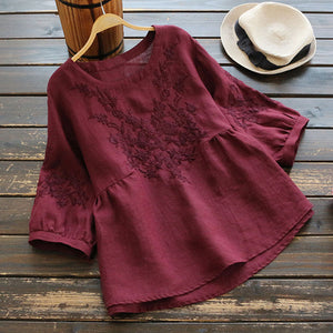 Blouse Women Plus size Tunic Cotton Embroidery Blouse Shirts