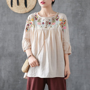 Plus size Tunic Cotton Blouse Women