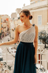 Prom Dress Long Sleeveless Backless A-line Tulle Robe