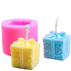 3D Christmas Gift Box Shape Candle Silicone Mould