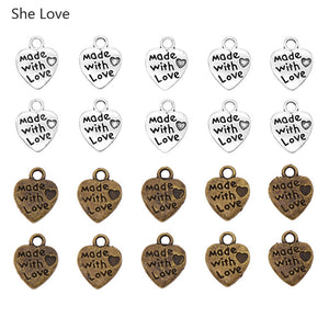 50Pcs Handmade Metal Heart Shaped Garment Labels For Clothing