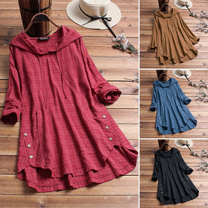 Plus Size Linen Long Sleeve Shirts Female Button Asymmetrical Hooded Tunic