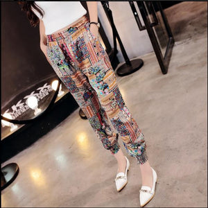 Casual loose female thin feet point harem pants