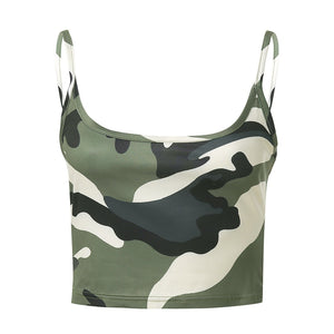 Summer Camouflage Sleeveless Crop Top