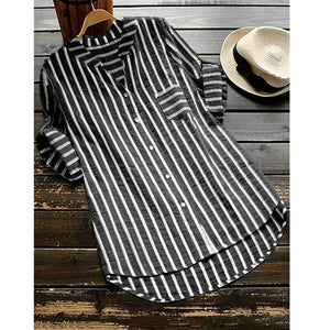 Women Shirts Stripe Half Long Sleeve V Neck Cotton Linen Blouse