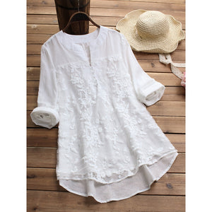 Embroidery Women's White Blouse Casual Plus Size Tops