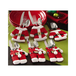 6PC Santa Claus Snowman Elk Style Utensil Knives Forks Holder Cutlery Bag Pouch