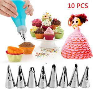 10Pcs Icing Pastry Bag With 8 Stainless Steel Nozzle