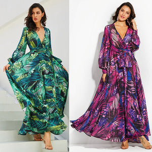 Plus Size V-neck Boho Chiffon Dress