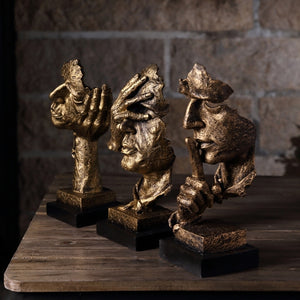 Home Artwork Statue Silence Is Gold Thinker Sculpture
