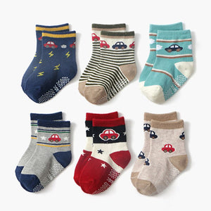 Toddler Cotton Anti Slip Socks 0-24 Months 12 Pairs