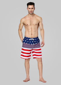 Men American Flag Beach Shorts Swimwear