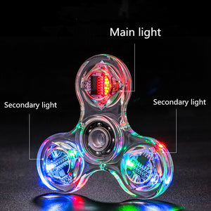 Creative LED Luminous Fidget Spinner Transparent