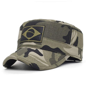 Men Military Embroidery Brazil Flag Cap