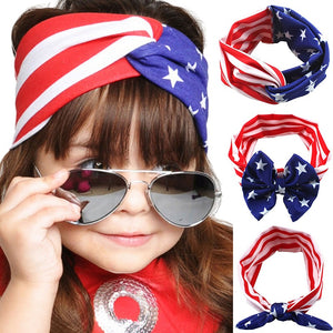 4th of July Headband American Flag Pattern Bow-knot Turbans