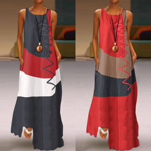 Women Patchwork  Summer Maxi Dress