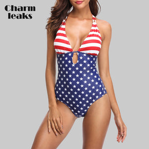 Women One Piece Swimwear American Flag Striped