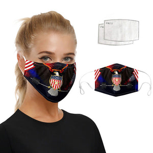 Unisex Washable  Masks American flag Printed Cotton