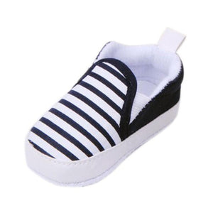 Baby Boys Shoes Infant Slip-On First Walkers Toddler Striped Canvas Sneaker
