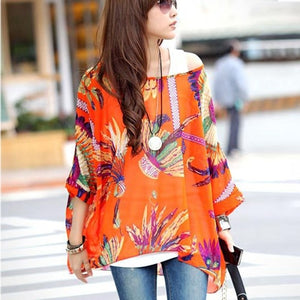 Flower Print Women's Casual Chiffon Dresses