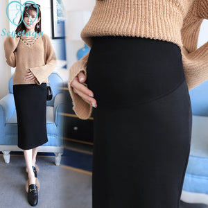 Maternity Elastic Waist Belly Long Skirts