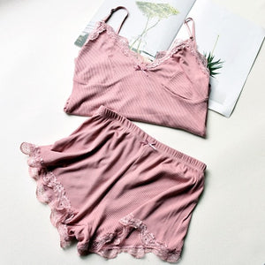 Two Piece Cotton Pajama Set Sexy Lace Top And Shorts
