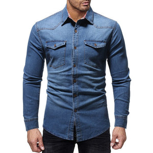 Denim Shirt Men Casual Fit Slim Long Sleeve