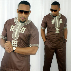African mens suits tops shirts pant 2 pieces set